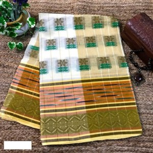 Bengal Tangail Tant Pure Cotton Saree (White and Brown color)